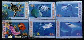 Australia 1995 Marine Life perf set of 6 (3 se-tenant pairs) unmounted mint SG 1556-61