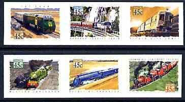 Australia 1993 Trains of Australia self-adhesive set of 6 unmounted mint, SG 1411-16