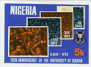 Nigeria 1973 Ibadan University - partly hand-painted original artwork for 5k value (Student Population Growth) by unknown artist on card 9 x 6