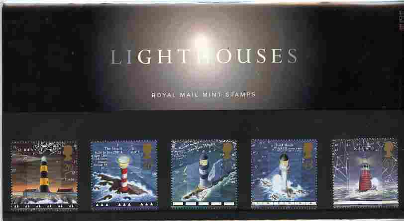 Great Britain 1998 Lighthouses set of 5 in official presentation pack, SG 2034-38