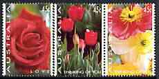 Australia 1994 Greetings Stamps - Flower Photographs perf set of 3 unmounted mint, SG 1445-47