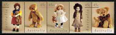 Australia 1997 Dolls & Teddy Bears perf strip of 5 unmounted mint, SG 1693a