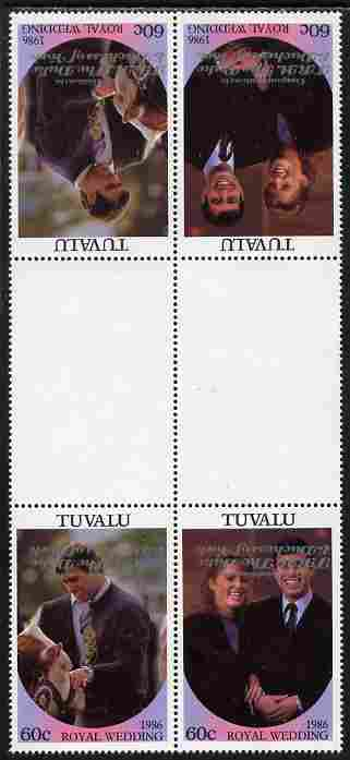 Tuvalu 1986 Royal Wedding (Andrew & Fergie) 60c with 'Congratulations' opt in silver in unissued perf tete-beche inter-paneau block of 4 (2 se-tenant pairs) with overprint inverted on one pair unmounted mint from Printer's uncut proof sheet, minor wrinkles