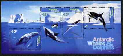 Australian Antarctic Territory 1994 Whales & Dolphins perf m/sheet unmounted mint, SG MS112, stamps on whales, stamps on dolphins, stamps on marine life, stamps on polar
