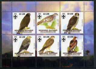 Mauritania 2002 Birds of Prey #3 perf sheetlet containing 6 values (Eagle, Buzzards, Falcons & Hawks) each with Scout logo unmounted mint