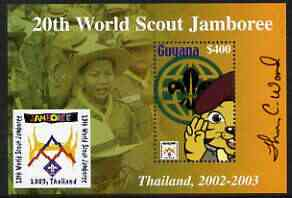 Guyana 2003 World Scout Jamboree perf m/sheet containing $400 value, signed by Thomas C Wood the designer