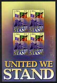 St Kitts 2002 United We Stand perf sheetlet containing block of 4, signed by Thomas C Wood the designer, stamps on flags, stamps on fire, stamps on police
