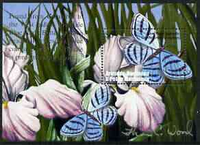 Grenada - Grenadines 2002 Flora & Fauna perf m/sheet (Blue Night Butterfly), signed by Thomas C Wood the designer, unmounted mint