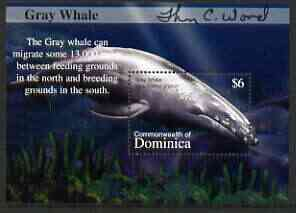 Dominica 2002 Flora & Fauna perf m/sheet (Gray Whale), signed by Thomas C Wood the designer, unmounted mint