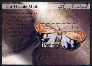 Dominica 2002 Flora & Fauna perf m/sheet (The Ornate Moth), signed by Thomas C Wood the designer, unmounted mint