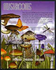 Grenada - Grenadines 2002 Flora & Fauna perf composite sheetlet containing 6 values (Mushrooms), signed by Thomas C Wood the designer, unmounted mint