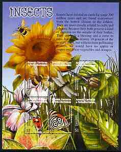 Grenada - Grenadines 2002 Flora & Fauna perf composite sheetlet containing 6 values (Insects), signed by Thomas C Wood the designer, unmounted mint