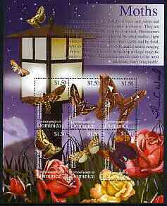 Dominica 2002 Flora & Fauna perf composite sheetlet containing 6 values (Moths), signed by Thomas C Wood the designer, unmounted mint