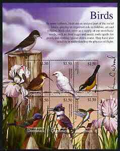 Dominica 2002 Flora & Fauna perf composite sheetlet containing 6 values (Birds), signed by Thomas C Wood the designer, unmounted mint