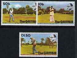 Gambia 1976 11th Anniversary of Independence (Golf) perf set of 3 unmounted mint, SG 346-48*