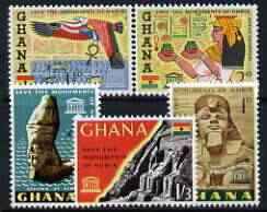 Ghana 1963  Nubian Monuments Preservation perf set of 5 unmounted mint, SG 319-23