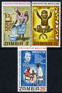 Zambia 1970 Preventative Medicine perf set of 3 unmounted mint, SG 152-54