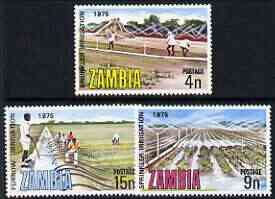 Zambia 1975 Irrigation & Drainage perf set of 3 unmounted mint, SG 244-46