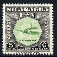 Nicaragua 1954 National Air Force Commemoration - 5c AT-6 Training Plane unmounted mint SG 1213