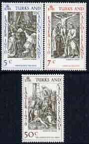 Turks & Caicos Islands 1970 Easter (Engravingsby Durer) perf set of 3 unmounted mint, SG 318-20