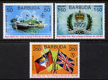 Barbuda 1977 Royal Visit set of 3 unmounted mint (SG 345-7)
