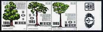 Mexico 1985 World Forestry Congress perf strip of 3 unmounted mint, SG 1747-49