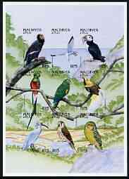 Maldive Islands 1997 Birds of the World sheetlet of 9 imperf from limited printing unmounted mint, as SG 2635a