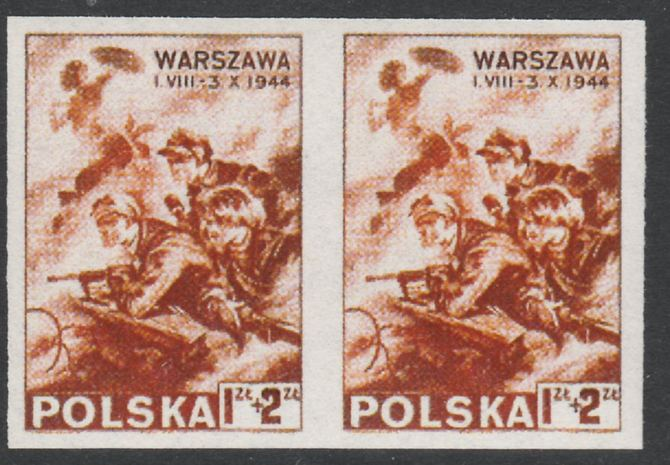 Poland 1944 Relief Fund for Warsaw Rising imperf pair being a
