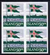 Iceland 1958 40th Anniversary of Flag 50k imperf block of 4 being a 'Hialeah' forgery on gummed paper (as SG 359)