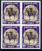 Greenland 1945 Liberation of Denmark 10ore imperf block of 4 being a 'Hialeah' forgery on gummed paper (as SG 20)
