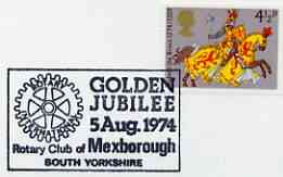 Postmark - Great Britain 1974 card bearing illustrated cancellation for Golden Jubilee of Mexborough Rotary Club