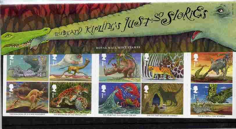 Great Britain 2002 Rudyard Kipling's Just So Stories self adhesive set of 10 in official presentation pack, SG 2243a