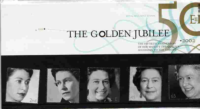 Great Britain 2002 Golden Jubilee set of 5 in official presentation pack SG 2253-57