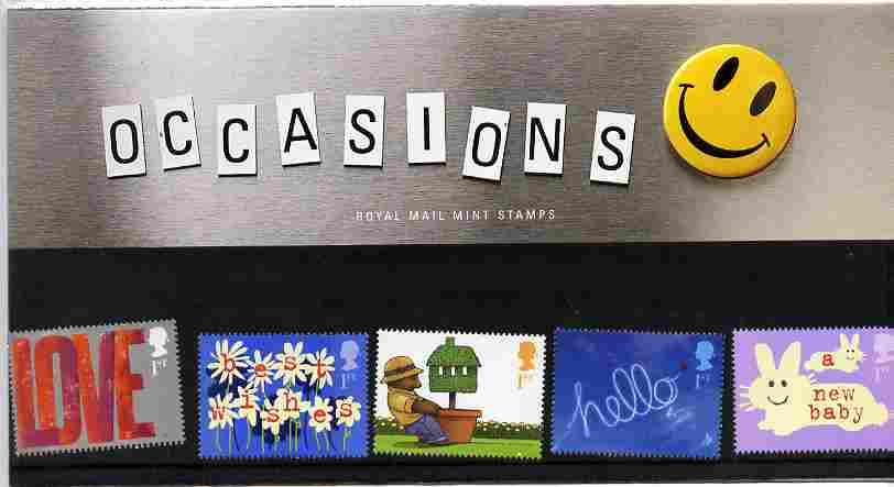 Great Britain 2002 Occasions - Greetings Stamps perf set of 5 in official presentation pack SG 2260-64