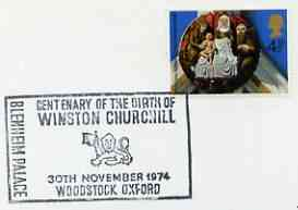 Postmark - Great Britain 1974 cover bearing illustrated cancellation for Birth Centenary of Winston Churchill (Woodstock)