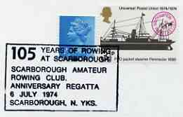 Postmark - Great Britain 1974 card bearing special cancellation for 150 years of Rowing at Scarborough, stamps on rowing, stamps on sport