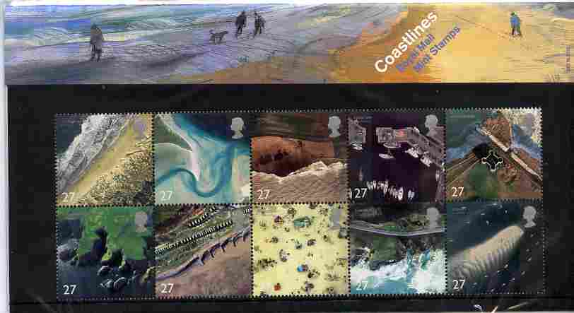 Great Britain 2002 Coastlines se-tenant block of 10 in official presentation pack SG 2265-74