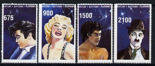 Batum 1995 Film Stars (Elvis, Marilyn Monroe, C Chaplin & Bruce Lee) perf set of 4 unmounted mint