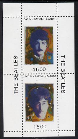 Batum 1995 Beatles set of 2 souvenir sheets each containing 2 values unmounted mint