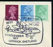 Postmark - Great Britain 1977 cover bearing illustrated cancellation for 40th Anniversary First Mail Flight to Sumburgh (Lerwick)