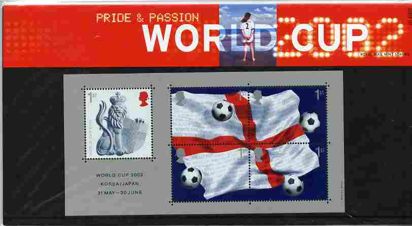 Great Britain 2002 Football World Cup m/sheet containing 5 x first class stamps in official presentation pack SG MS 2292