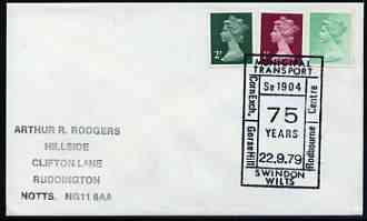 Postmark - Great Britain 1979 cover bearing illustrated cancellation for 75th Anniversary of Municipal Transport, Swindon