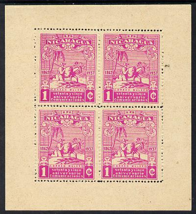 Nicaragua 1937 75th Anniversary of Postal Administration 1c magenta Mule Transport perf sheetlet containing 4 values without gum (as issued) mounted in margins, as SG 995