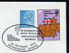 Postmark - Great Britain 1973 cover bearing illustrated cancellation for Anniversary of John Wesley's Horseblock Sermon