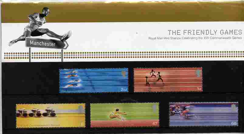 Great Britain 2002 Commonwealth Games set of 5 in official presentation pack SG 2299-2303