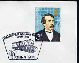 Postmark - Great Britain 1973 cover bearing illustrated cancellation for Birmingham Railway Museum Open Day, stamps on railways, stamps on museums