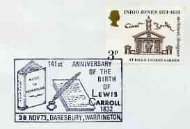 Postmark - Great Britain 1973 cover bearing illustrated cancellation for Birth Anniversary of Lewis Carroll