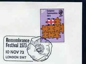 Postmark - Great Britain 1973 cover bearing illustrated cancellation for Remembrance Festival