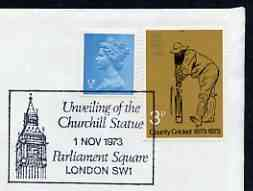 Postmark - Great Britain 1973 cover bearing illustrated cancellation for Unveiling the Churchill Statue (Parliament Square)