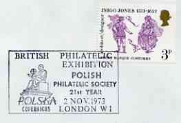Postmark - Great Britain 1973 cover bearing illustrated cancellation for British Philatelic Exhibition (Polish Phil Soc)